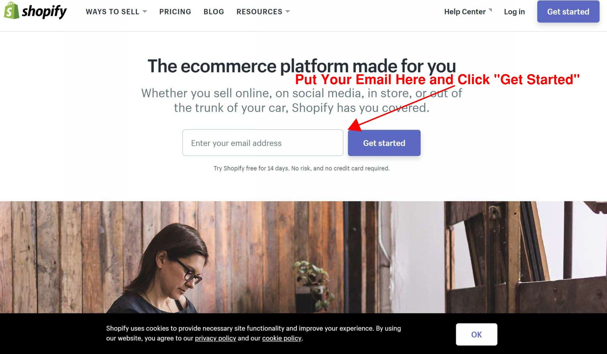sign up to shopify