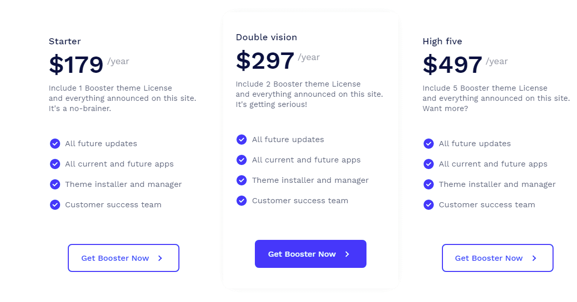 booster theme pricing options